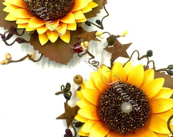Sunflower LED Candle Holders, 3 Paper Flower LED Candle Holders, 3 Rustic Sunflower Candle Holders