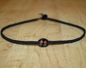 Black Choker Necklace with Glass Bead Hemp Choker Necklace Black Necklace Womens Necklace for Her Teen Girl Necklace Girlfriend Gift for Her