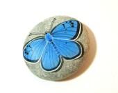 Sky blue butterfly, azure, light blue- hand painted rock paperweight, wedding decor