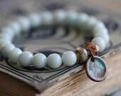 Amazonite Bracelet, Beaded Bracelet,  Stacking Bracelet, Stretch Bracelet, Gemstone Bracelet, Copper Charm, Fluer de Lis, Charm Bracelet