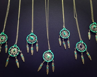 Mini embroidery hoop Dream catcher necklace
