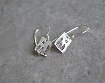 Starry Night Earrings Sterling Silver Reclaimed Silver Eco Friendly Winter French Wire Satin Finish