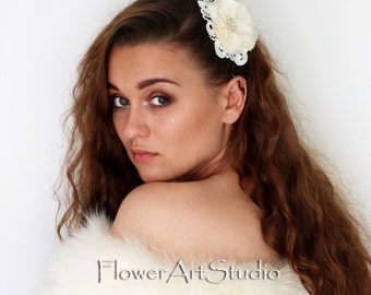Ivory Bridal Hair Piece, Bridal Hair Flower, Bridal Hair Accessories, Wedding Fascinator, Bridal Hair Clip, Bridal Headpiece.