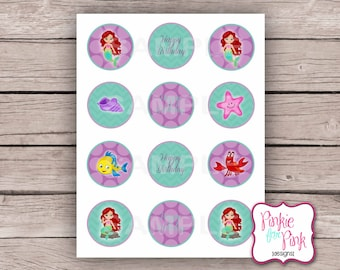 """INSTANT Download The Little Mermaid Ariel Cupcake Toppers 2"""" Birthday Party - Digital File Download"""