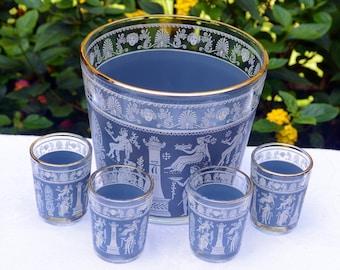 Jeanette Bar Set- 6 Pieces- Ice Bucket, 5 Shot Glasses - Corinthian Blue - Vintage - Stunning!