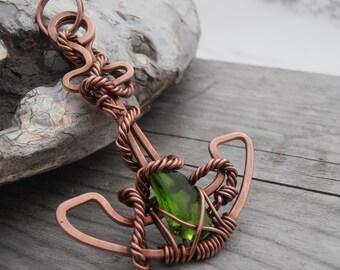 Copper Anchor pendant with sea glass