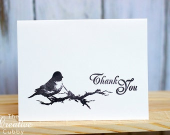 Hand Stamped Bird Thank You Cards (set of 10)