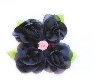 Navy Chiffon Rose with Leaf Flower...You Choose Quantity...Chiffon Rose Flower...Rolled Rosettes...Mini Rolled Rosettes...Shabby Rose