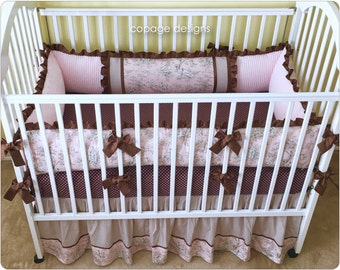 Blush Central Park Toile Baby Crib Bedding Set -- Bumper Pad and Crib Skirt / Dust Ruffle -- Girl Baby Bedding