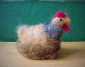 Chicken On Nest, Needle Felted Wool, Spring Decoration, Country Decor, Felt Hen
