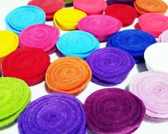 Felt Flowers,12 Pieces  Felt Rolled Round Flower, Two Size Cut, For Your Spring Projects, Mixed Colors