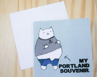 "CARD: ""Portland Foodie"" featuring a cat with a food baby"