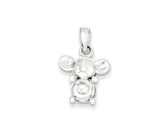 Sterling Silver and CZ Polished Mouse Pendant