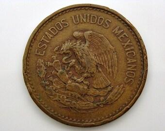 1954 Mexican Coin 20 Centavos Bronze