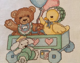 Teddy and Duck completed cross stitch