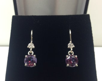 GORGEOUS Color Change Alexandrite & White Sapphire Sterling Oval Cut Dangle Leverback Earrings Gemstone Jewelry Trending Stones June Gift