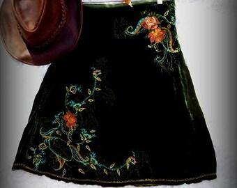 Embroidered Skirt, Designer Johnny Was, Dark Green Velvet, Everyday Wear, Women's Clothes, Shabby Chic, Romantic Wear, Gift for Her, Altered