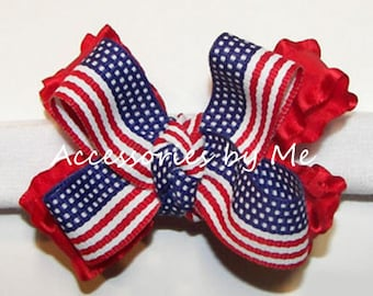 Flag Bow Headband, US Baby Hair Band, Red White Blue Headbands, Stars Stripes Ruffle Ribbon Hair Band, Newborn 4th of July Photo Props Bands