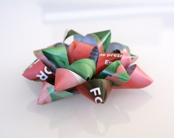Paper gift bow, pink & green, magazine