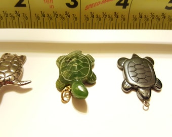 3 Turtle Charms OR Pendants