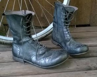 Handmade laceup leather boots GRAPHITE