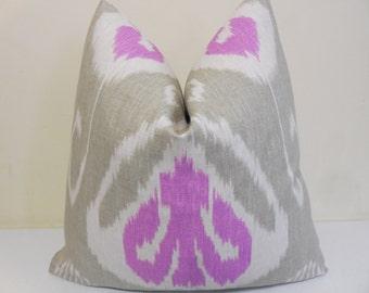 Kravet Ikat Pillow Cover - Kravet Bansuri Orchid - Gray Orchid Ikat Designer Pillow - Sofa Pillow- 18x18, 20x20,  22x22, 24 x 24...