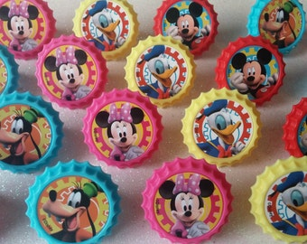 24 MICKEY ROADSTER RACERS Minnie Goofy Donald rings for cupcake toppers cake birthday party favors goodie bags Mouse Clubhouse Disney Jr.