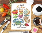2017 Calendar. Food and Drink. Illustrated. Kitchen Decor. Food Art. Foodie. 5x7