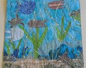 Impressionist Contemporary Art, Fiber Art Wall Hanging, sea turtles, fish and plants mingle in this  underwater fantasy
