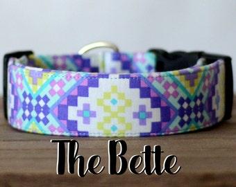 "Bright Modern Purple & Yellow Geometric Dog Collar ""The Bette"""