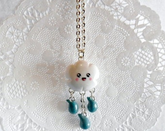 ON SALE Kawaii Cloud & Rain Necklace, Choice of Stainless Steel Chain, Cute! :D