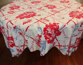 Vintage Floral Tablecloth - Red - White - Blue - Trellis Pattern with Roses - 48 x 46 - 1930's - 1940's - Cottage Chic Decor