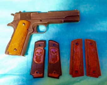 DKM Leathers Wood/Tooled Leather Grips for 1911