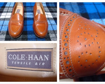 Vintage Retro Men's Cole Haan Loafers Dress Shoes Tensile Air Brown Leather size Mens 7.5 Womens 9