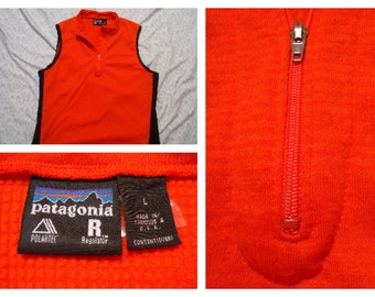 Vintage Retro Men's 90's Patagonia Sweater Vest Fleece Red Black Polartec Made in the USA Large