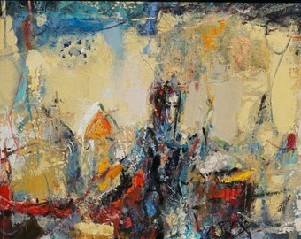 """Original Oil Painting, Abstract, Figurative Composition, The Annunciation, 10""""x 21"""", oil on wood panel, by Grigor Malinov"""