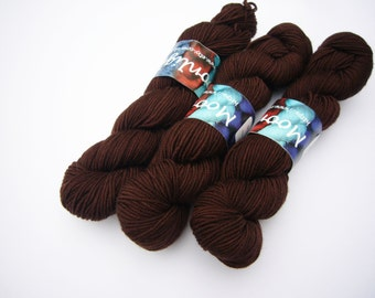 Hand dyed Double knit weight yarn 100% Superwash Merino 50g  - chocolate