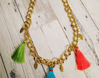 Chunky Gold Chain Tassel Necklace