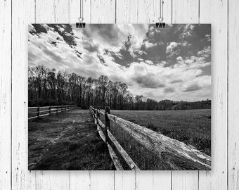 Farmhouse Decor Fine Art Photography Print Country Home Decor Black and White Landscape Photograph Nature Photography Gallery Wall Prints