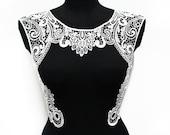 Black White Venice Lace Crochet Necklace Collar, Sewing Applique Motif, Wedding dress collar