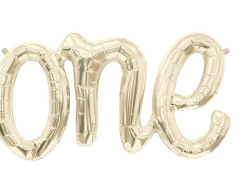 gold Balloon Banner in script writing 'one' mylar wedding balloons