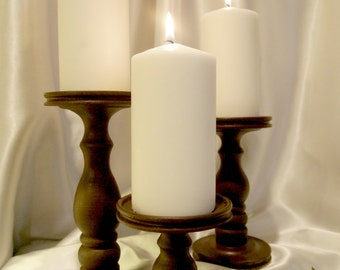 Set of 3 Dark Bronze Tone Lathe-turned Wooden Pillar Candle Holders - MADE IN USA