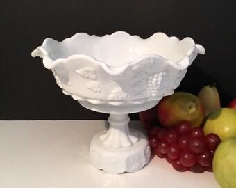 Westmoreland Fruit Bowl Grapes Leaves Pattern Milk Glass  1950s