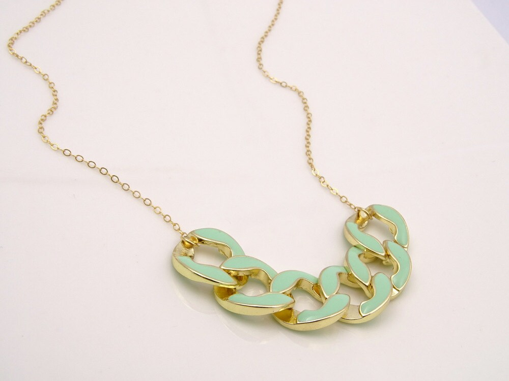 mint green necklace statement necklace fashion by