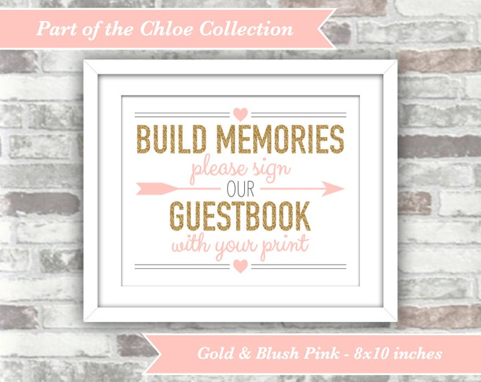 INSTANT DOWNLOAD - Chloe Collection - Printable Wedding Fingerprint Guestbook Sign - 8x10 Digital Files - Gold and Blush Pink Guest Book