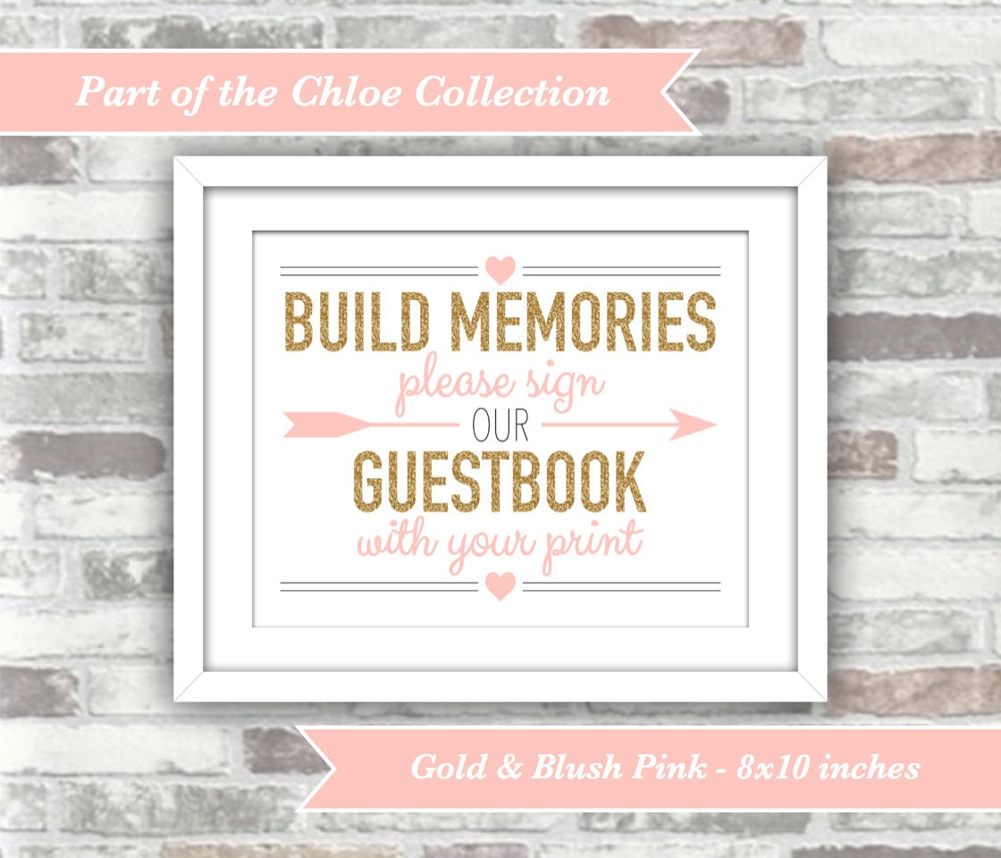 Instant download chloe collection printable wedding instant download chloe collection printable wedding fingerprint guestbook sign 8x10 digital files gold and blush pink guest book sciox Images