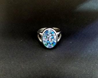 Mossaic Opal Ring/ Sterling Silver Original Mossaic Opal Ring