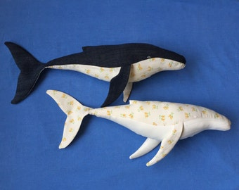 Retro Whales Made to order fabric toys