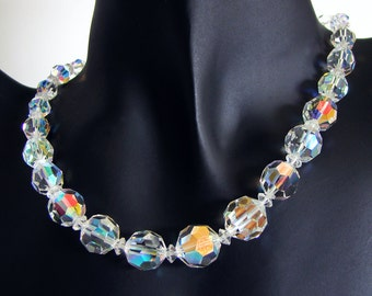 Vintage Coro Aurora Borealis Crystal Necklace, 17 Inch Length
