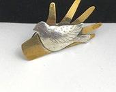 Bird in Hand Folk Art Brooch